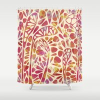 olivia joy Shower Curtains featuring Joy by Nic Squirrell