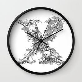 Letter 'X' Monochrome Wall Clock