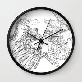 Forbidden Love Between the Ocean and Sky- Black & White Illustration Wall Clock