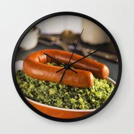 III - Dutch food: kale with smoked sausage or 'Boerenkool met worst' Wall Clock