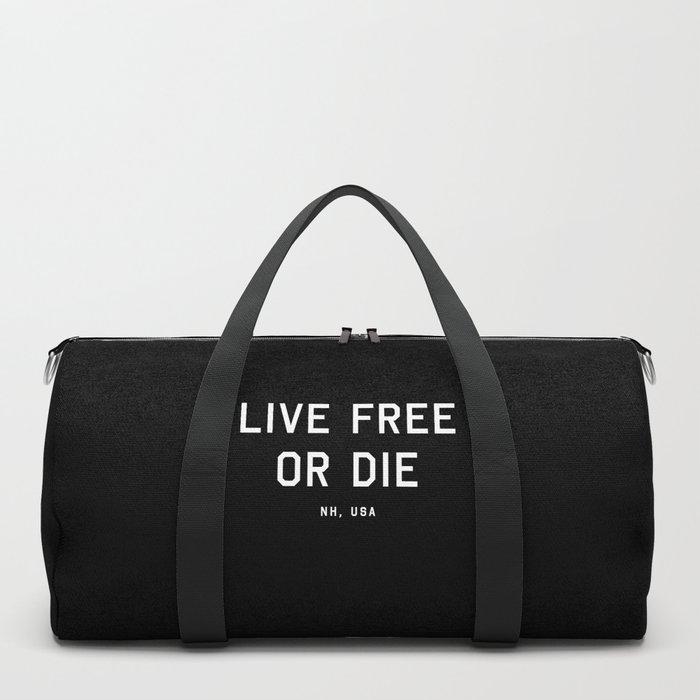 Live Free or Die - NH, USA (Black Motto) Duffle Bag