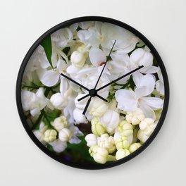 White Lilacs Wall Clock