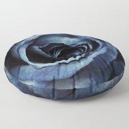 Blue Rose Bloom Decorative Floor Pillow