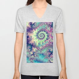 Violet Teal Sea Shells, Abstract Underwater Forest  Unisex V-Neck