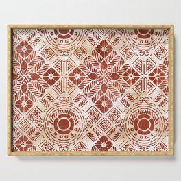 Decorative Vintage Pattern Sanguine Red Serving Tray