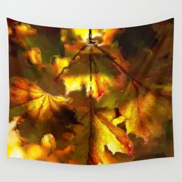 Sun kissed Sycamore leaves Wall Tapestry