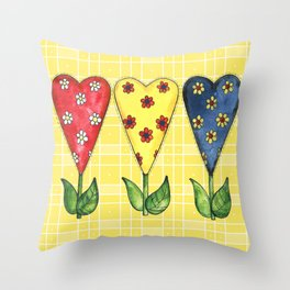 Hearts in Primary Colors Throw Pillow