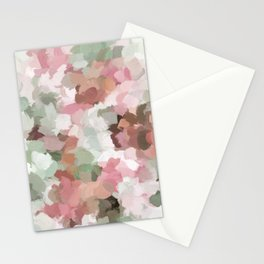 Sage Mint Green Fuchsia Blush Pink Abstract Flower Wall Art, Springtime Painting Print, Modern Wall Stationery Cards