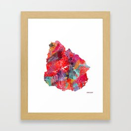 Uruguay map square Framed Art Print