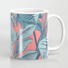 Pink Exotic Tropical Banana Palm Leaf Print Mug