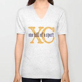 Purple & Gold XC: one hill of a course (cross country) Unisex V-Neck