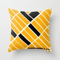 santa monica Throw Pillows featuring Santa Monica Ca. by Studio Tesouro