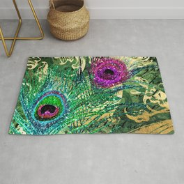 Exotic Peacock Feathers With an Elegant Flourish Rug