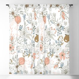 Abstract modern coral white pastel rustic floral Blackout Curtain