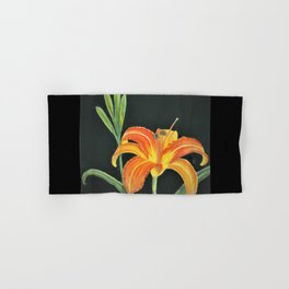 the original day lily with border Hand & Bath Towel