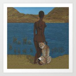 Woman & Cheetah Art Print