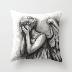 Weeping Angel Watercolor Doctor Who Art Throw Pillow