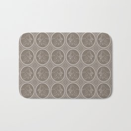 Grisaille Chestnut Brown Neo-Classical Ovals Bath Mat