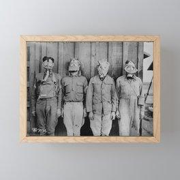 American, British, French, & German Gas Masks Framed Mini Art Print