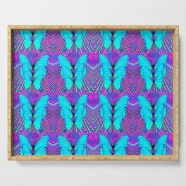 MODERN ART NEON BLUE BUTTERFLIES SURREAL PATTERNS Serving Tray