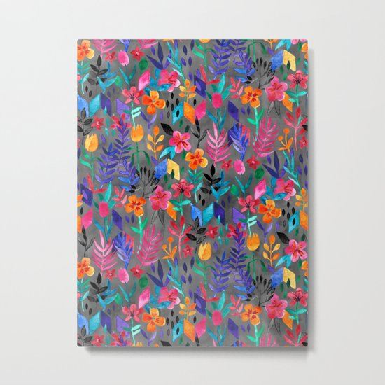 Popping Color Painted Floral on Grey Metal Print