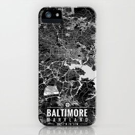BALTIMORE Maryland Map with Coordinates iPhone Case