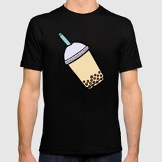 Bubble Tea Pattern in Red Mens Fitted Tee Black MEDIUM