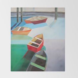 Five Boats Throw Blanket