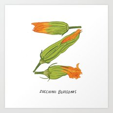 Z is for Zucchini Blossoms Art Print
