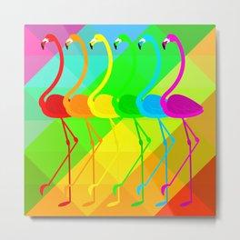 Pride rainbow Flamngos Metal Print