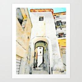 Tortora glimpse with door of the historic center Art Print