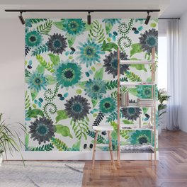 Turquoise Femme Flowers Wall Mural