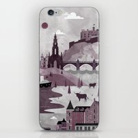 travel poster iPhone & iPod Skins featuring Edinburgh Travel Poster Illustration by ClaireIllustrations