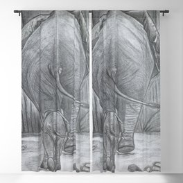 Mother & Baby Elephants Blackout Curtain