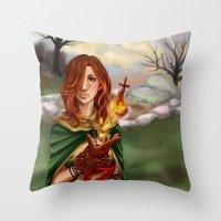 dark souls Throw Pillows featuring Dark Souls 2  - Emerald Herald by Vivid-K