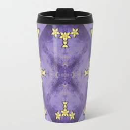 Rich purple texture with pretty gold flowers Travel Mug