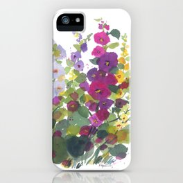 Purple Hollyhock Garden iPhone Case