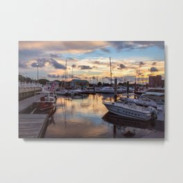 Portsmouth Marina at Sunset Metal Print