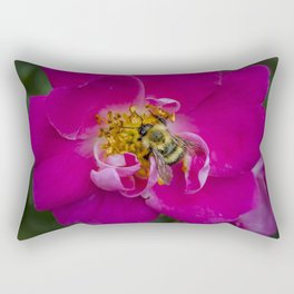 Bee on Wild Rose Rectangular Pillow