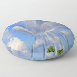 White Puffs in the Sky Floor Pillow