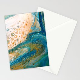 Panning for Gold - Abstract Acrylic Art by Fluid Nature Stationery Cards