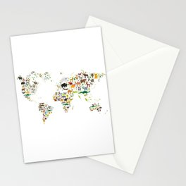 Cartoon animal world map for children and kids, Animals from all over the world on white background Stationery Cards