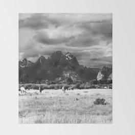 Horse and Grand Teton (Black and White) Throw Blanket
