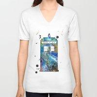 tardis V-neck T-shirts featuring Tardis by Beth Naeyaert