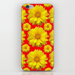 """YELLOW COREOPSIS """"TICK SEED"""" FLOWERS RED PATTERN iPhone Skin"""