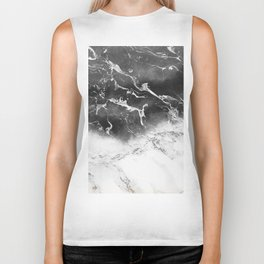 Modern black and white marble ombre watercolor color block Biker Tank