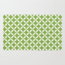 Greenery Green and White Geometric Circles Rug