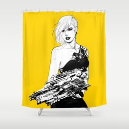 Badass girl with gun in comic pop art style Shower Curtain