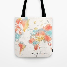 """Explore"" - Colorful watercolor world map with cities Tote Bag"