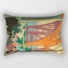 Scottish Railway Travel Poster, The Forth Bridge, East Coast Route Rectangular Pillow